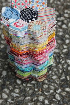 hexagon flower tower by crafting with loove, via Flickr