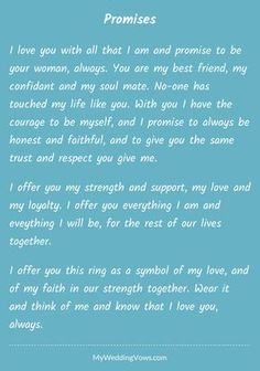 Best wedding vows to husband i promise marriage Ideas Wedding Vows That Make You Cry, Best Wedding Vows, Wedding Vows To Husband, Wedding Ceremony, Funny Wedding Vows, Wedding Script, Dream Wedding, Wedding Readings, Wedding Signs