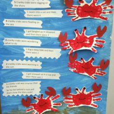 Ocean craft for preschool. 5 cranky crabs song also great way to make crabs with fingerprints! Ocean Projects, Preschool Projects, Daycare Crafts, Preschool Themes, Classroom Crafts, Preschool Activities, Science Projects, Kids Crafts, Classroom Ideas