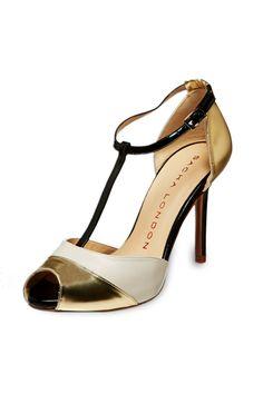 Venta Sacha London Zapatos Salomé de Piel Blanco y Dorado, antes 130€ ahora 49€ en divinitycollection.es