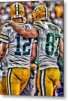 Aaron Rodgers Jordy Nelson Green Bay Packers Art Metal Print Aaron Rodgers Metal Print featuring the painting Aaron Rodgers Jordy Nelson Green Bay Packers Art by Joe Hamilton Packers Baby, Go Packers, Packers Football, Football Memes, Greenbay Packers, Manning Football, Football Stuff, Peyton Manning, Football Players