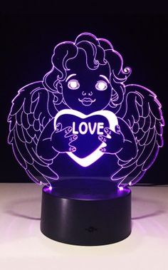"Rainbow Love Angel Touch Lamp Buy Angel Gifts Here! - Charming LED 3D visual ""see through"" effect...Laser engraved acrylic plate...very good illumination to keep you from bumping...Orders: 1-800-417-9872"