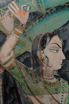 Vintage India - Detail ofPichhvai, Gopi's looking for Krishna via...