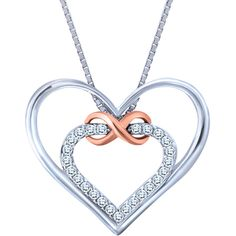 0.10 Carat TW, Sterling Silver and 10k Rose Gold Diamond Infinity Heart Pendant with Chain
