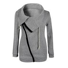 Lisingtool Women Zipper Blouse Hoodie Hooded Sweatshirt Coat Jacket Pullover (XL, Gray