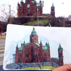 "Watercolor city cityscape painting acuarela акварель 284 Likes, 2 Comments - A Travel Diary (@_atraveldiary_) on Instagram: ""Finland  - Repost @tkjustinng . . . . . . . . . . . . . .  Uspenski Cathedral in Helsinki. Also,…"""