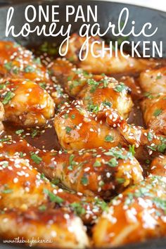 This One Pan Honey Garlic Chicken Is An Easy Weeknight Meal Idea With A Simple Sticky Sauce, Made All In One Pan In Less Than 30 Minutes Recipe From Thebusybaker. Easy Honey Garlic Chicken, Honey Garlic Sauce, Garlic Chicken Recipes, Sriracha Sauce, Chicken Thighs In Oven, Chicken Thights Recipes, Honey Glazed Chicken, Baked Salmon Recipes, Fish Recipes