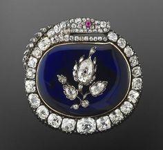 Azul del esmalte y Diamond Snake y broche de la flor, alrededor del año 1850