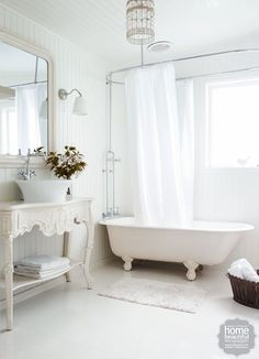 Home beautiful bathrooms chanderlier, large ornate mirror, interesting consol, Bathroom inspiration: 10 gorgeous clawfoot tubs