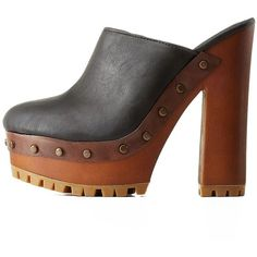 bf9fc06f66b Charlotte Russe Black Studded Platform Mule Heels by Bamboo at... ( 39)