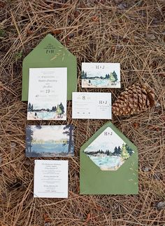 This set features many custom goodies that can definitely spice up the tone for your woodland wedding!  View all of our watercolor invitations