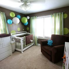 Baby boy nursery - grey walls, green dots