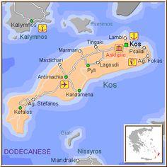 ☼ Grecia Greece ☼ Mapa de la isla de Kos, en las Islas Griegas del Dodecaneso, Cýcladas, Grecia.