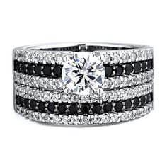 1 ct. tw. Black & White Diamond Semi-Mount Engagement Ring Set in 14K Gold - beautiful!