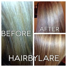 "The ""Before Hair"" was just a brittle husk! It lacked moisture, strength, dimension and proper color balancing.  I utilized a ""2-a TWO lvl difference in four zones from bottom to top...*5/38=pts 6 vol. 7/38 and =pts 12 vol. 9/7 and =pts 20 vol. developer and then utilized a 10/7 w/ tones pastel developer to gloss the entire thing for 10 min. Larry Webb Hairbylare"