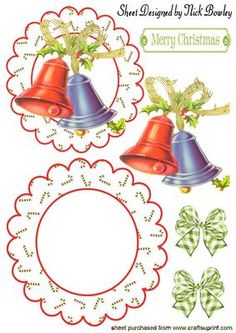 Christmas Bells with Holly on Rocker Card on Craftsuprint designed by Nick Bowley - CHRISTMAS BELLS WITH HOLLY ON A ROCKER CARD, WITH BOWS, Makes a lovely card, also can be seen in quick cards, with matching inserts - Now available for download!