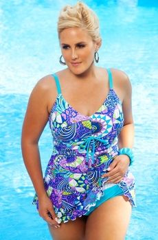 Women's Plus Size Swimwear - Always For Me Chic Prints Santee Swim Mini Style #81224WA - Sizes 16W-26W - JUST ARRIVED