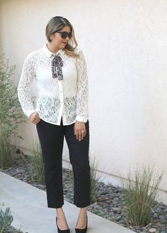 Feminine with a Menswear Touch. This feminine lace blouse is from the LC Lauren Conrad collection at Kohls! The cute floral bow tie adds a dash of menswear. I paired it with black cropped pants and black block heels. See more at my blog!
