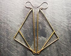 Large Brass Geometric Necklace Tidal Loop by LoopHandmadeJewelry