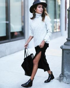 Booties With a Maxi Skirt and Cozy Sweater