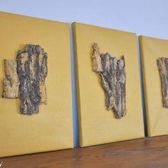 Trio de cadres ornés d'écorce de bois