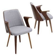 Add a touch of class to your home office or living space with the LumiSource Verdana Chair. A high walnut wood backrest and whimsy bentwood armrest adds drama with a striking silhouette.