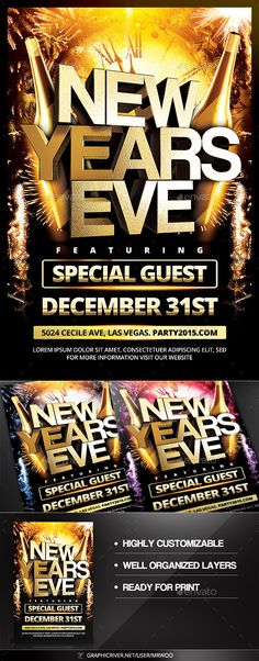 New Years Eve Flyer Template PSD #design #nye Download: http://graphicriver.net/item/new-years-eve-flyer/9552359?ref=ksioks