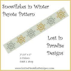 Snowflakes in Winter Peyote Bracelet Pattern