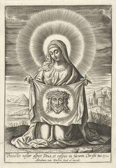 Abraham van Merlen | H. Veronica, Abraham van Merlen, Wierix, 1600 - 1660 | De heilige Veronica met de vera icon, de doek met de afbeelding van het gelaat van Christus.
