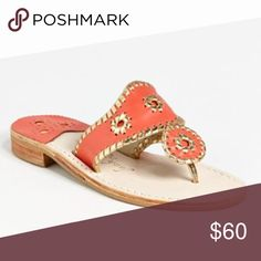Coral and Gold Jack Rogers WORN ONCE!! Coral and gold Jack Rogers sandals. In AMAZING shape!! Jack Rogers Shoes Sandals