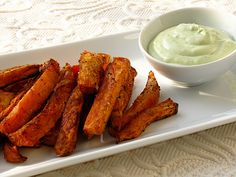 sweet potato oven fries with avocado dip.. use this dip for the sweet potato veggie burgers too!
