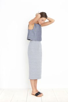 Simple Outfit: Long Stripped Skirt with Short Sleeve Blueish Short Sleeve Shirt