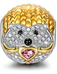 """NinaQueen """"Shy Hedgehog"""" 925 Sterling Silver Cubic-Zirconia Gold Plated [Happy Family] Charms, Cute Animal Charms Ideal Gifts for Women and Girls  ASIN:  B01N4QMJIJ MODEL# CSGO5652BB BOX# X001BD5065"""
