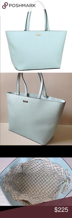 """Kate Spade Wedding Bells Blue Large Tote Bag Gently used and very clean inside and out. Only the Gold hardware has minor wear. If you're looking to compete your new, borrowed, vintage, and blue ensemble then this is the perfect Wedding Bells blue saffiano leather large tote to carry you through your big day and honeymoon! Top zipper closure to securely hold everything. Interior zip, slip and multi-function pockets. 9"""" handles.  13-19"""" (L) x 12"""" (H)  100% authentic. kate spade Bags Totes"""