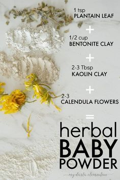 [sc [sc How to make baby powder using bentonite and kaolin clay (without arrowroot or cornstarch)! All natural, safe, non-toxic, & healing. Also uses plantain leaf. Be Natural, Natural Baby, Natural Healing, Natural Skin Care, Natural Kids, Natural Glow, Holistic Healing, Calendula, Baby Powder Uses