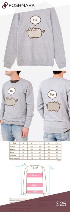 """Pusheen Conversation Unisex Pullover, L NEW WITHOUT TAGS. This adorable long sleeve fitted pullover features the chubby gray cat saying """"hi"""" on the front and """"bye"""" on the back! Perfect for fans of the comic and cat lovers alike! Unisex fit and sizing. Banded neckline. Lightweight. Full length long sleeves. Ribbed sleeve cuffs and hem. Soft printed neck tag. PRICE IS FIRM. Retails $36 + shipping pusheen Tops Tees - Long Sleeve"""