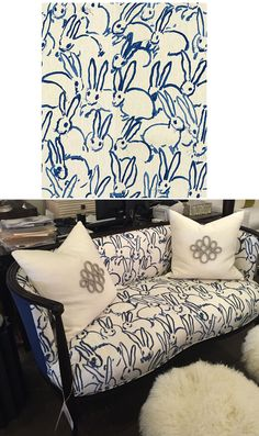 Hunt Slonem bunnies print fabric.  PERFECT for an unexpected touch on a couch in the playroom.  Childish and adult.  Not the right shape of couch for playroom, but gives a better sense of how the fabric translates.  Couch from Eclectic Home.
