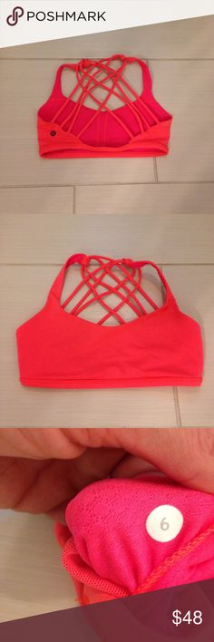 Lululemon free to be bra. Electric coral. Size 6 Lululemon free to be bra. Electric coral. Size 6. No pads. Cheaper elsewhere. lululemon athletica Tops