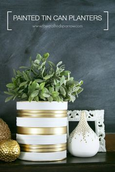 Painted tin can planters.