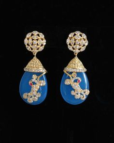 Designer Indian AD Stone Dangling Blue bead stone Earrings Bollywood Jewelry