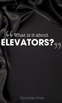 """'What is it about elevators?' he mutters, more to himself than to me as he strides across the lobby."" p.79"