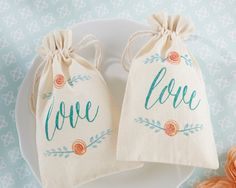 muslin wedding favor bags - botanical garden wedding