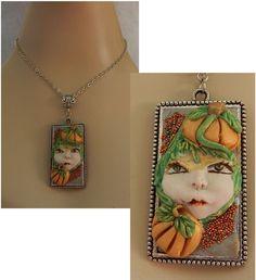 Pumpkin Goddess Necklace Jewelry Handmade NEW Polymer Clay Halloween Adjustable #handmade #Pendant http://www.ebay.com/itm/161454543706?ssPageName=STRK:MESELX:IT&_trksid=p3984.m1555.l2649