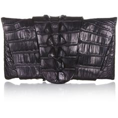 Pre-Owned Balmain Crocodile Clutch (2 910 AUD) ❤ liked on Polyvore featuring bags, handbags, clutches, black, genuine leather purse, crocodile leather purse, preowned handbags, multi colored leather handbags and crocodile purse