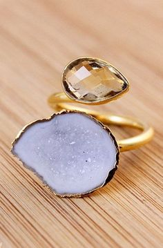 Gold Citrine And Natural Druzy Ring