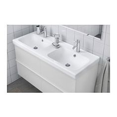 IKEA - ODENSVIK, Double wash-basin,  , 120x49x6 cm, , 10 year guarantee. Read about the terms in the guarantee brochure.Perfect if you are two since the wash-basin has double sinks.The included water trap is easy to connect to the drain, washing machine and dryer because it is flexible.Unique water trap design gives room for a full sized drawer.