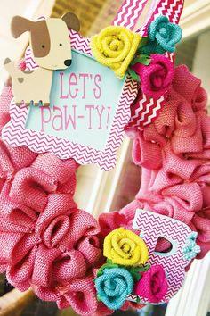 pink burlap wreath