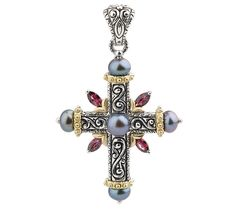 Barbara Bixby Multi-gemstone Cross EnhancerSterling/18K