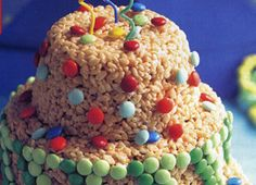 60 Impressive Birthday Cake Recipes : Rice Krispies Treats Birthday Cake