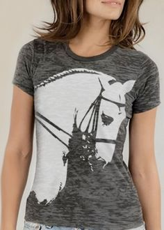 horse portrait  - fitted women's burnout  - design seen in Dressage Today - custom order. $30.00, via Etsy.